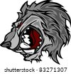 Wolf Mascot Cartoon with Snarling Face - stock vector
