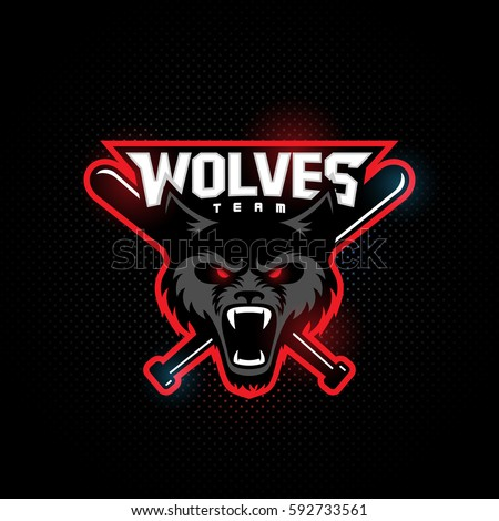 wolf mascot basketball team on dark stock vector 599778722