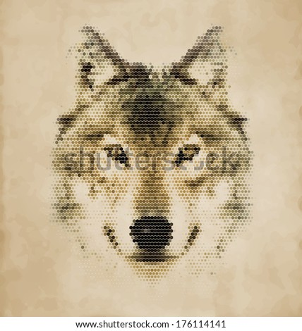 Wolf portrait made of geometrical shapes - Vintage Design - stock vector