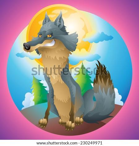 Wolf posing at the moon cartoon illustration - stock vector
