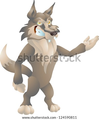 wolf presenting - stock vector