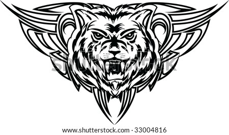 wolf tattoo dezign - stock vector