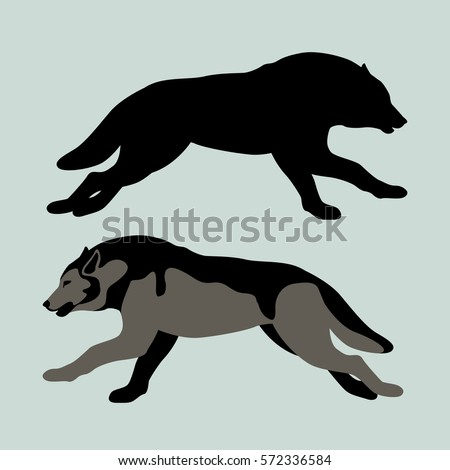 wolf vector illustration style flat silhouette stock vector