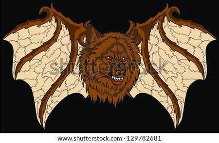 wolf wing - stock vector
