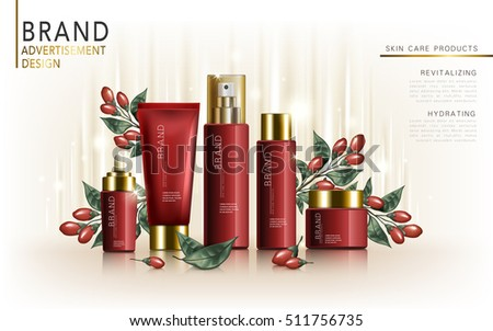 wolfberry skincare set, contained in tube, jar, and bottles, white background, 3d illustration