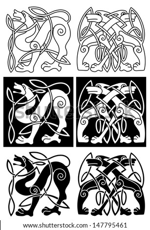 Wolves and dogs in celtic ornament for retro design. Jpeg version also available in gallery - stock vector