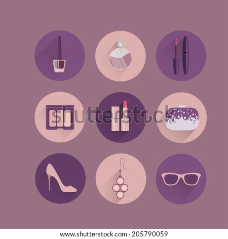 Woman accessories icons set of gloves shoes hats and jewelry vector illustration - stock vector