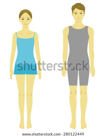 woman and man body, model - stock vector