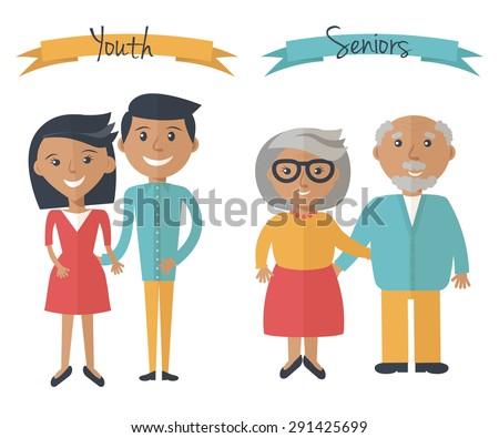 Woman and man couple generations. Family couple at different ages. Youth and seniors people isolated on white. Vector illustration in flat style. - stock vector