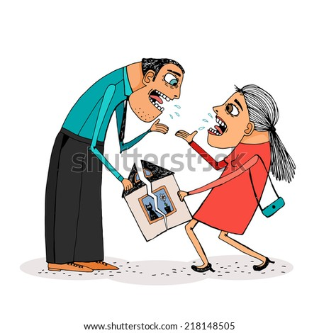 Woman and man halve their house. Vector hand-drawn illustration about divorce. - stock vector