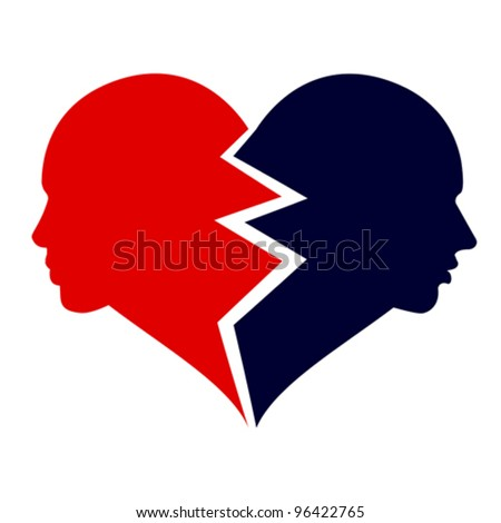 Woman and man in the shape of broken heart. Love icon, vector. Isolated on white