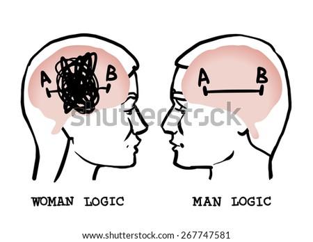 woman and man logic - stock vector