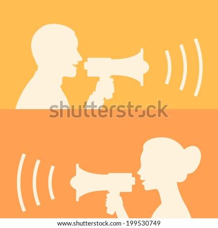 Woman and man says in loudspeaker - stock vector