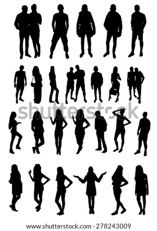 Woman and man Silhouettes design - stock vector