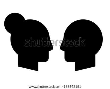 Woman and man vector profiles - stock vector