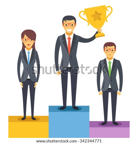 Woman and 2 men standing on pedestal. Man holds a golden cup. Modern flat design concept for web banners, web sites, printed materials, infographics. Vector illustration isolated on white background - stock vector