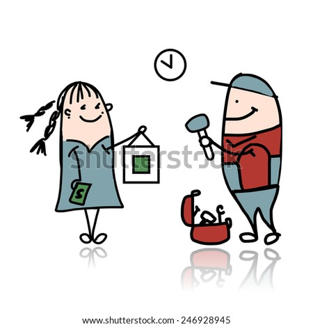 Woman and repairman, sketch for your design. Vector illustration