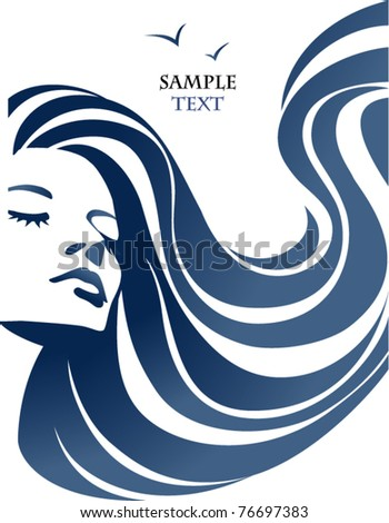 woman and sea - stock vector