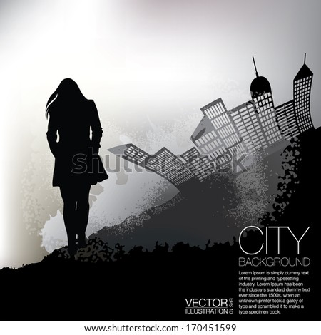 Woman and the City Grunge Background - stock vector