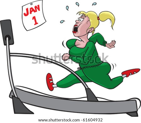 Woman and treadmill on separate layers. Layered vector file available. - stock vector