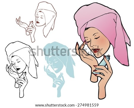 Woman applying face cream after a shower - stock vector
