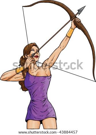 Woman Archer - stock vector