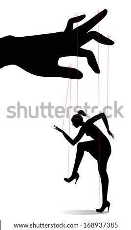 Woman as a marionette controlled