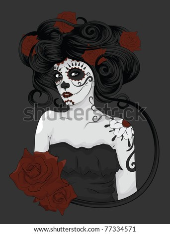 Woman as Sugar Skull Calavera Catrina with detailed hair dressed for Day of the Dead or Dia de los Muertos. - stock vector