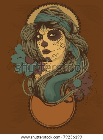Woman as Sugar Skull with detailed hair dressed for Day of the Dead - stock vector