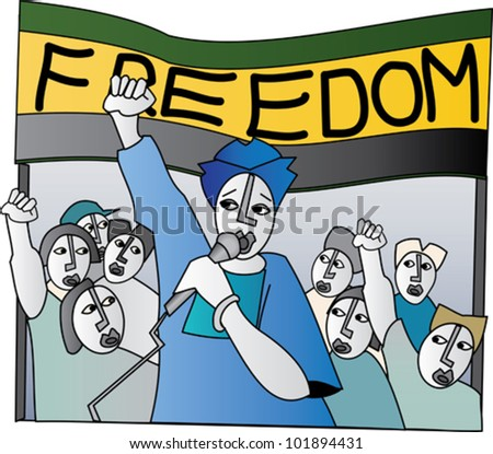 Woman at a freedom rally giving a speech to a crowd of supporters - stock vector