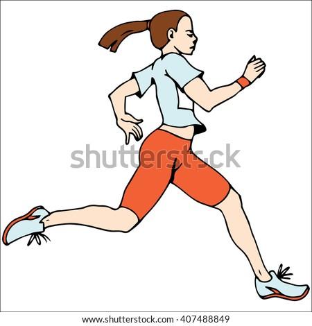 Woman athletes on running race. Marathon Runner. Vector - stock vector