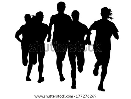 Woman athletes on running race on white background - stock vector