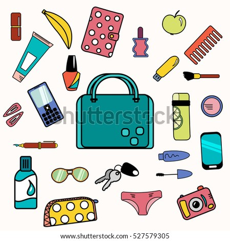Woman bag content with smartphone, cosmetics and drinking bottle.