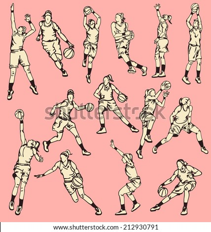 Woman Basketball Action Sport - stock vector