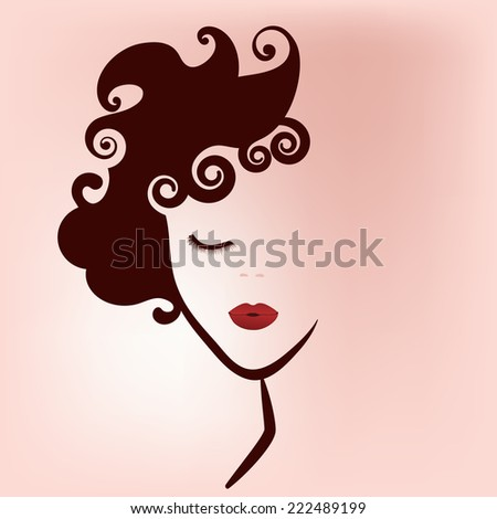 Woman beauty icon decal  - stock vector