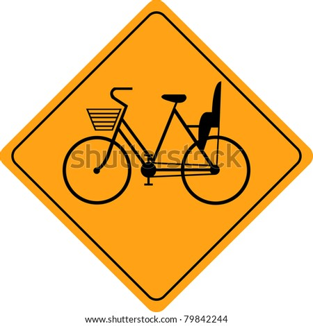Woman  bicycles road sign