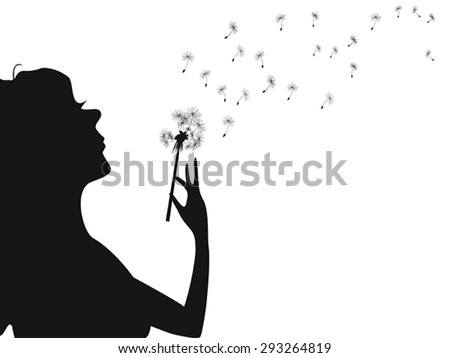 woman blowing dandelion - stock vector