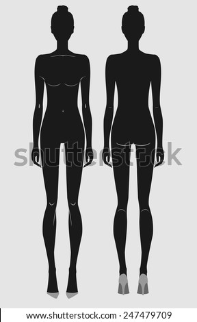 woman body front and back - stock vector