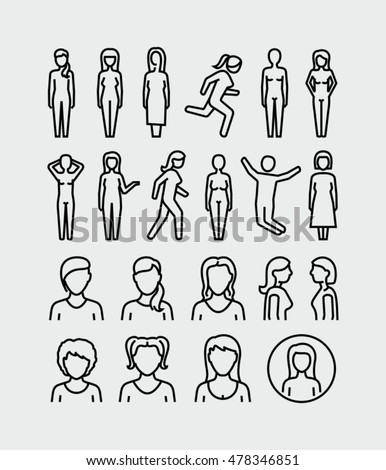 Woman Body Vector Icons