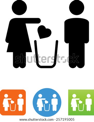 Woman breaking up with a man symbol for download. Vector icons for video, mobile apps, Web sites and print projects.  - stock vector