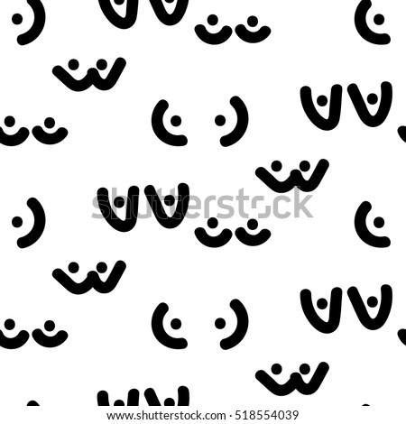 Woman breast vector seamless pattern. Funny boobs doodle background. Black and white pattern.