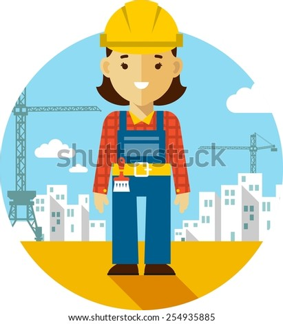 Woman  builder worker on on construction background with buildings and tower cranes - stock vector