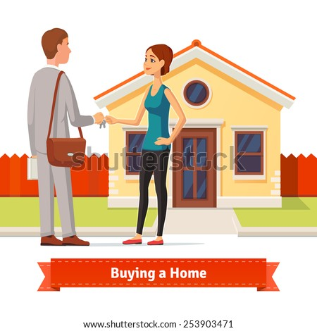 Woman buying a new house. Real estate agent giving a home key chain to a confident lady buyer. Flat style illustration or icon. EPS 10 vector. - stock vector