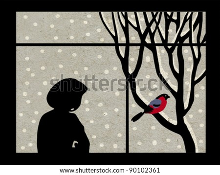 woman by the window on grunge background, vector illustration - stock vector