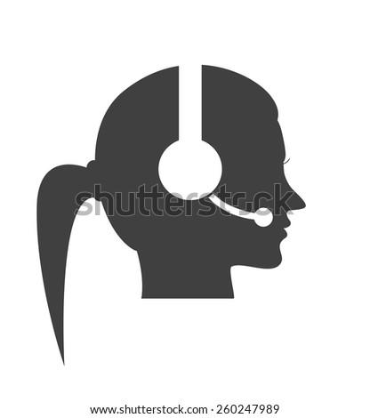 woman call center vector icon - stock vector