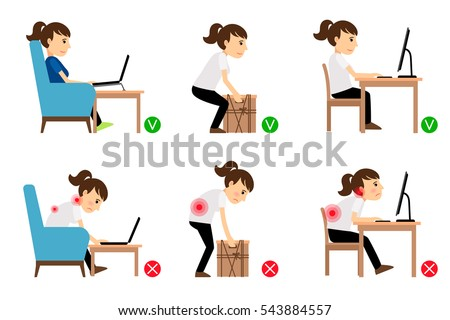 Woman Cartoon Character Sitting Working Correct Stock