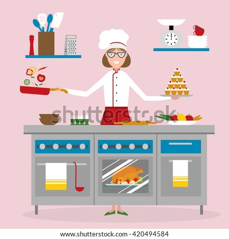 Woman Cartoon Chef Cooking On Pink Stock Vector 420494584