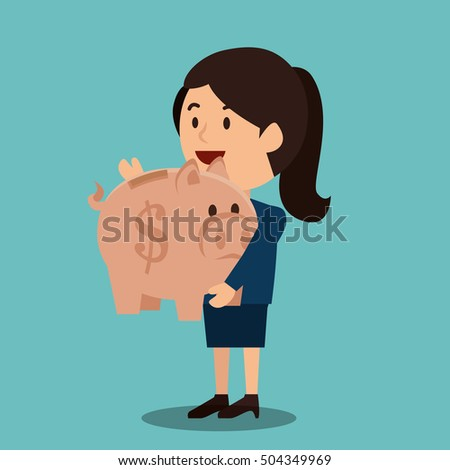 woman cartoon money earnings design isolated