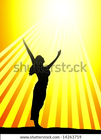 Woman celebrating the sun - stock vector