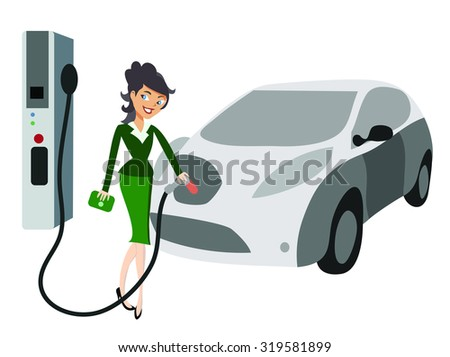 Woman charging electric car - stock vector